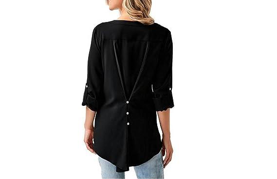 LQABW Camisa De Chifón Con Cuello En V De Estilo Nuevo De Primavera Blusa De Mujer Con Blusas Sexy: Amazon.es: Deportes y aire libre