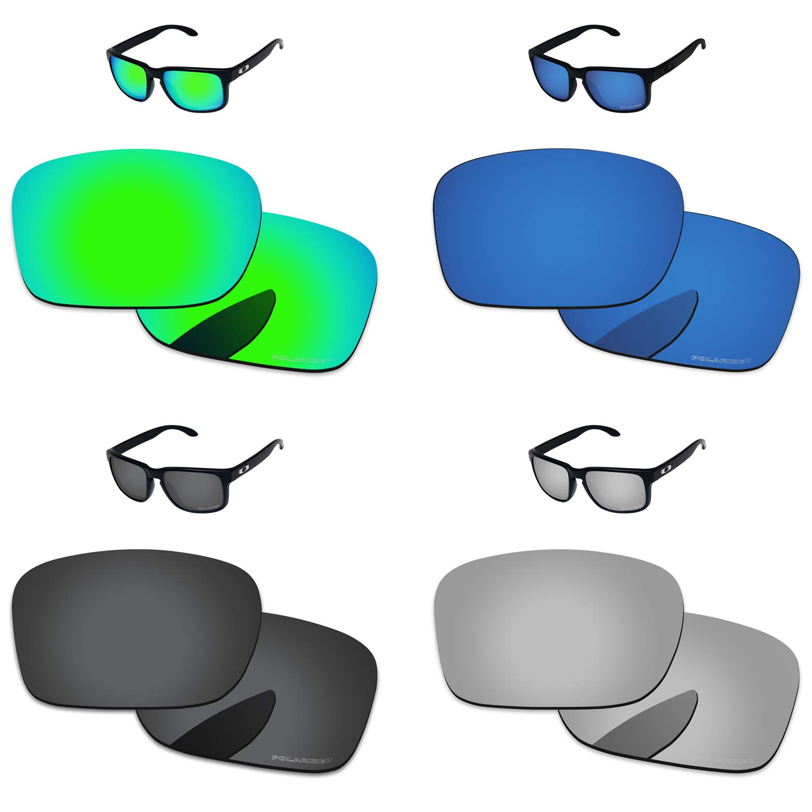 030b844470 PapaViva Lenses Replacement for Oakley Holbrook Black Grey   Chrome Silver    Bluish Green   Deep Water