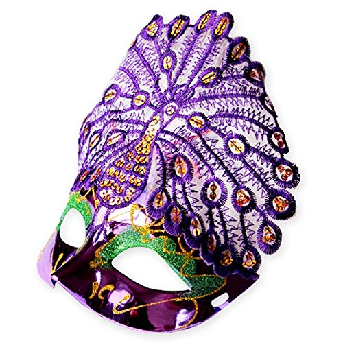 Face mask Shield Veil Guard Screen Domino False Front Halloween mask Venice Princess Makeup Dance Party Half face Peacock mask Purple