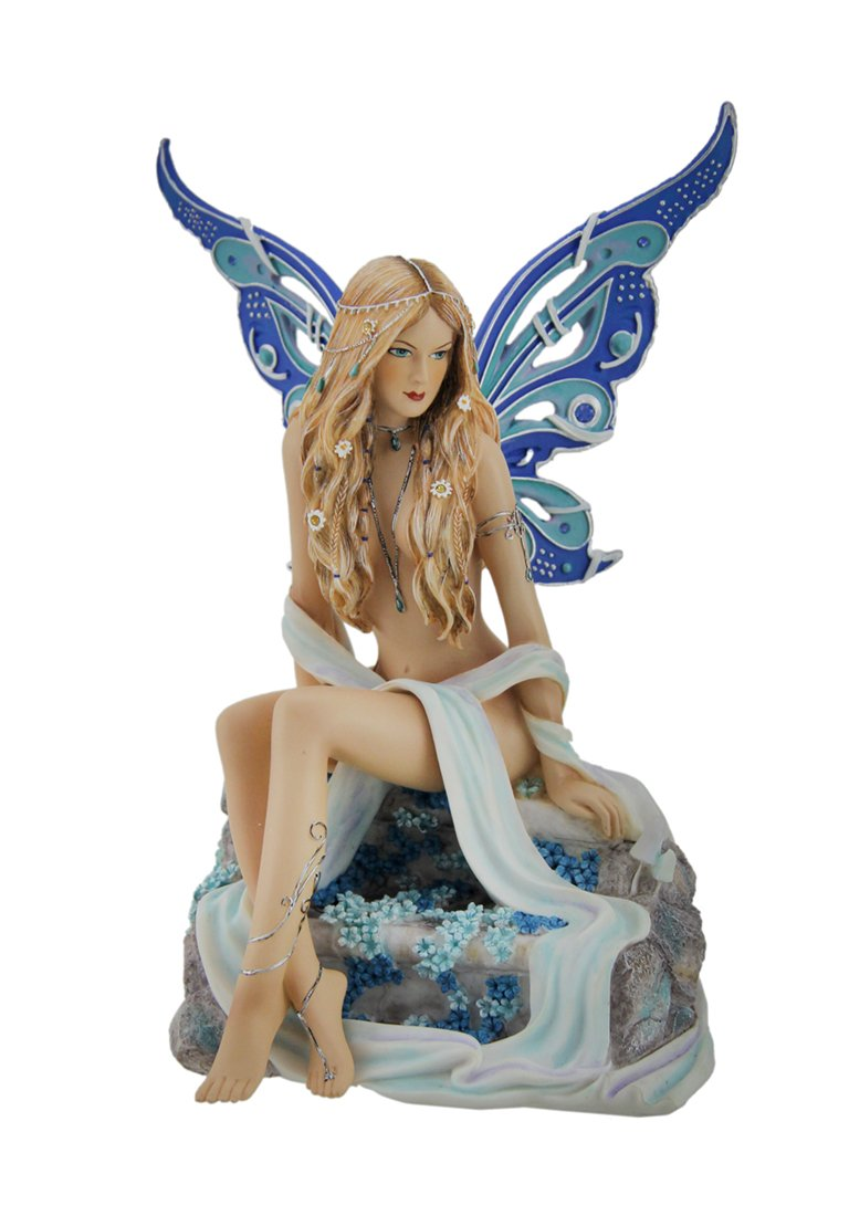 Veronese Design Resin Statues Sapphire Alluring Blue Butterfly Winged Fairy Statue 5 X 7 X 4 Inches Blue