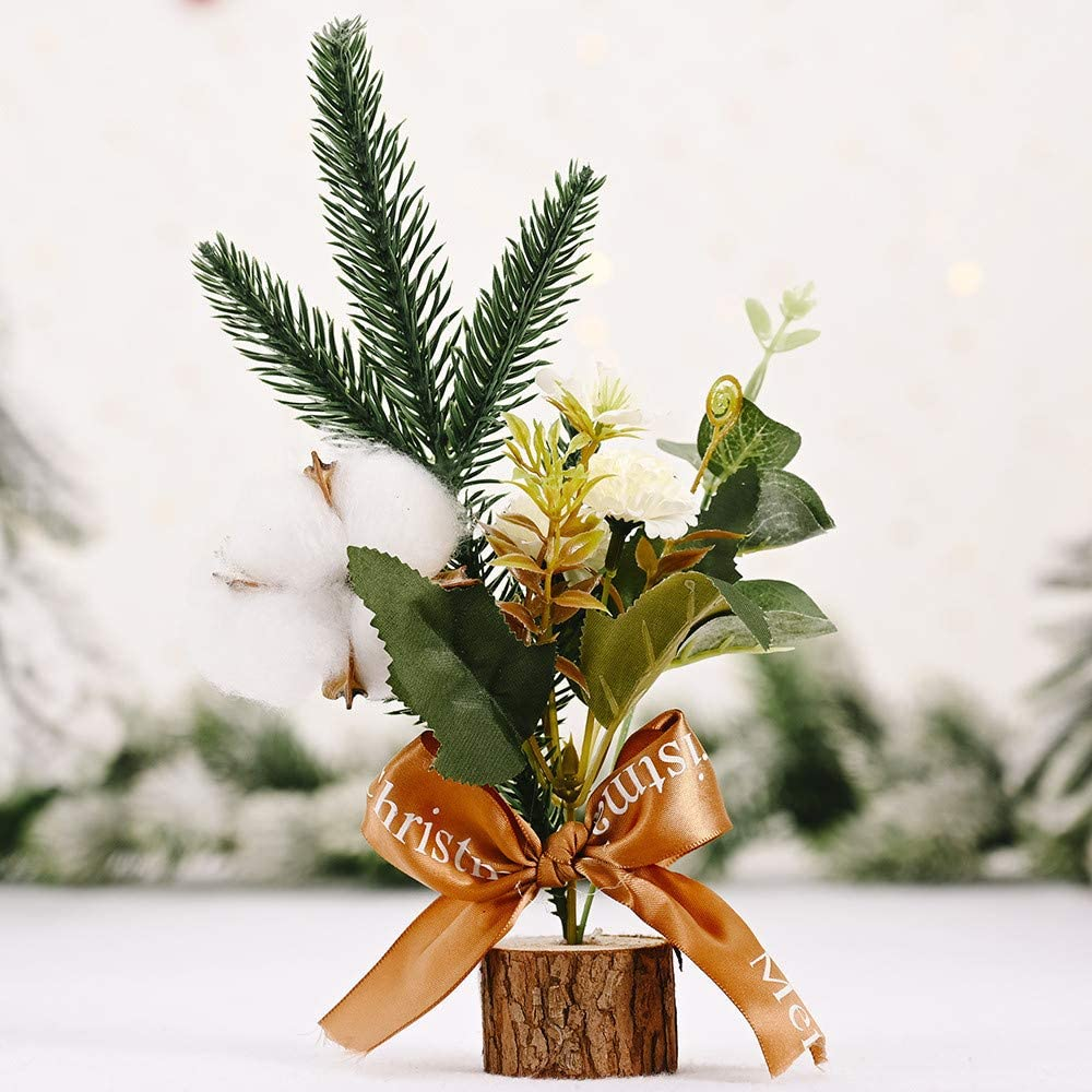 Maxwelly Mini Christmas Tree for Home Decoration, Xmas Artificial Creative Cotton Pine Needles for Table Decor with Wooden Base, Christmas Figurine Ornaments