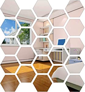 24 Pieces Hexagon Acrylic Mirror Sticker, Mirror Wall Decor, Self Adhesive DIY Wall Sticker Decals for Home Living Room Bedroom Decor (12.6x11x6.3cm/5x4.3x2.5inch) (24pcs)