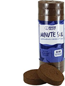 Minute Soil - Compressed Coco Coir Fiber Grow Medium - 80 MM Pucks - 10 Pack = 2.5 Gallons of Potting Soil - Indoor Container Growing: Wheatgrass, Microgreens, Flowers - Just Add Water - OMRI Organic