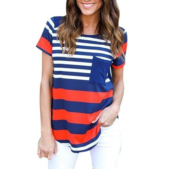 Rcool - Tops para Mujeres - Manga Corta de la Verano de Rayas Blusa Tops Camiseta