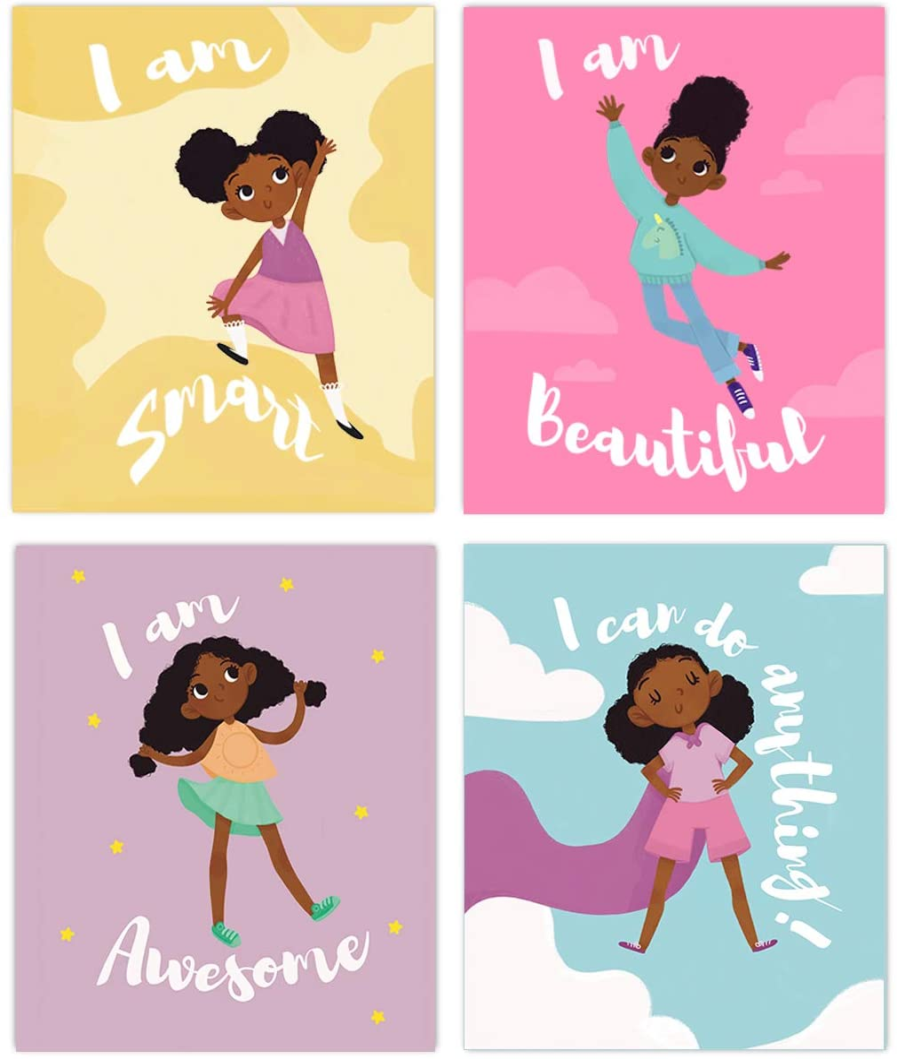 Set of 4 Girls Room Decor, Motivational Black Girl Wall Art, (Unframed) Kids Room Decor For Girls, Posters For Tween Girls Room, Girls Wall Decor, Girls Room Wall Decor, Kids Wall Art, Wall Art For Girls Bedroom (8x10)