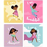 Set of 4 Girls Room Decor, Motivational Black Girl Wall Art, (Unframed) Kids Room Decor For Girls, Posters For Tween Girls Ro