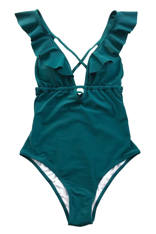 CUPSHE Women's Falbala One Piece Swimsuit Deep V Neck Monokini Swimsuit, Blue, Small