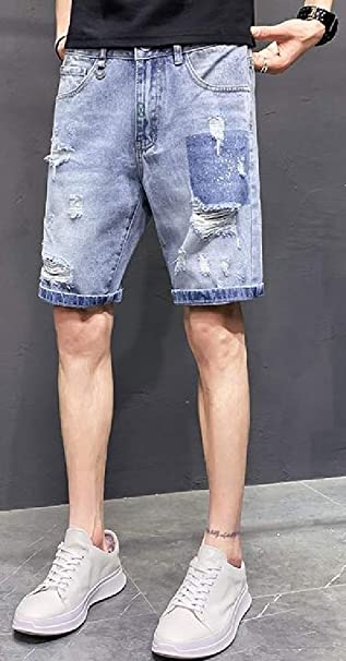 UUYUK Men Casual Stretch Plus Size Loose Straight Leg Denim Shorts Jeans