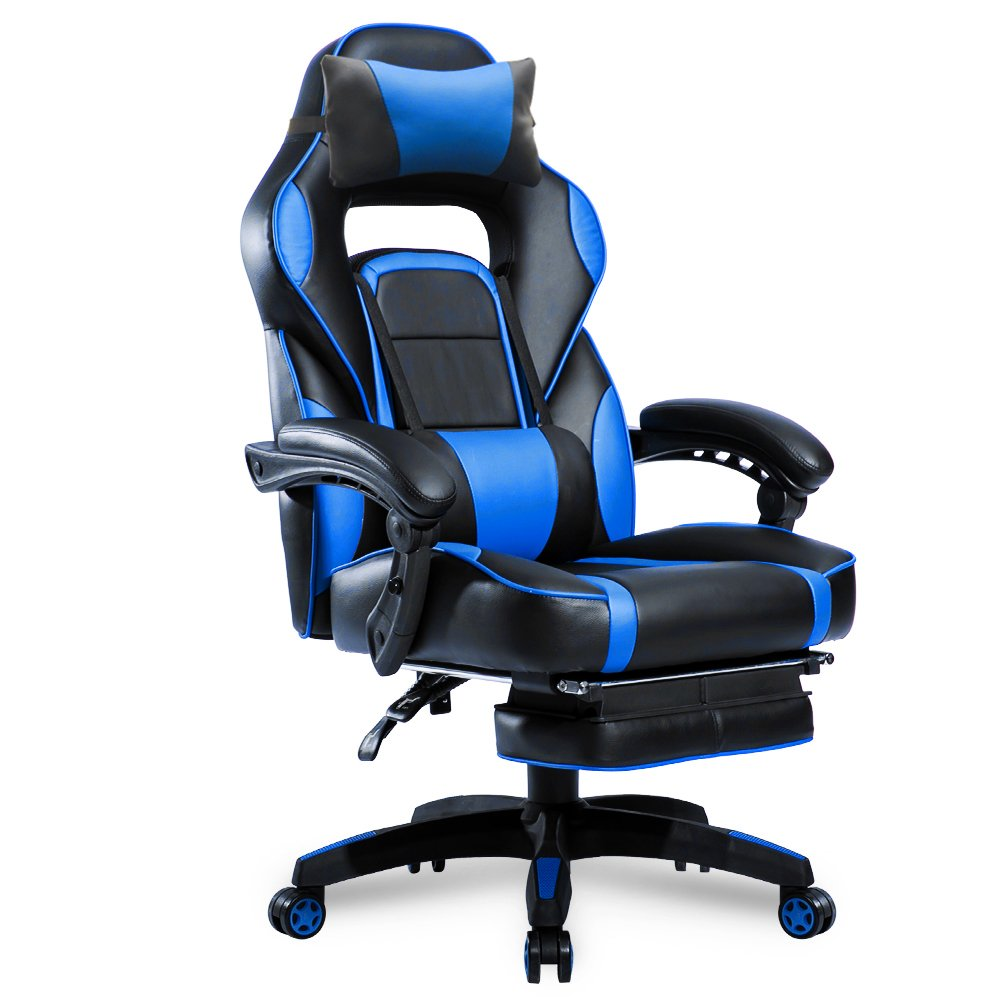 Merax High-Back Racing Home Office Chair, Ergonomic Gaming Chair with Footrest, PU Leather Swivel Computer Home Office Chair including Headrest and Lumbar Support (blue)