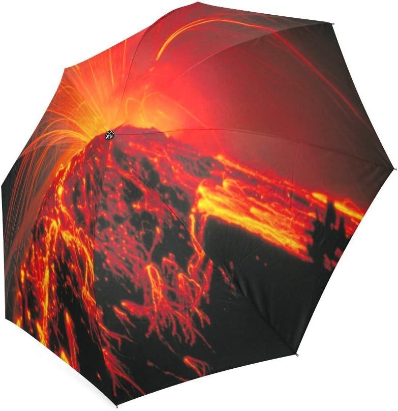 Custom Volcano Compact Travel Windproof Rainproof Foldable Umbrella