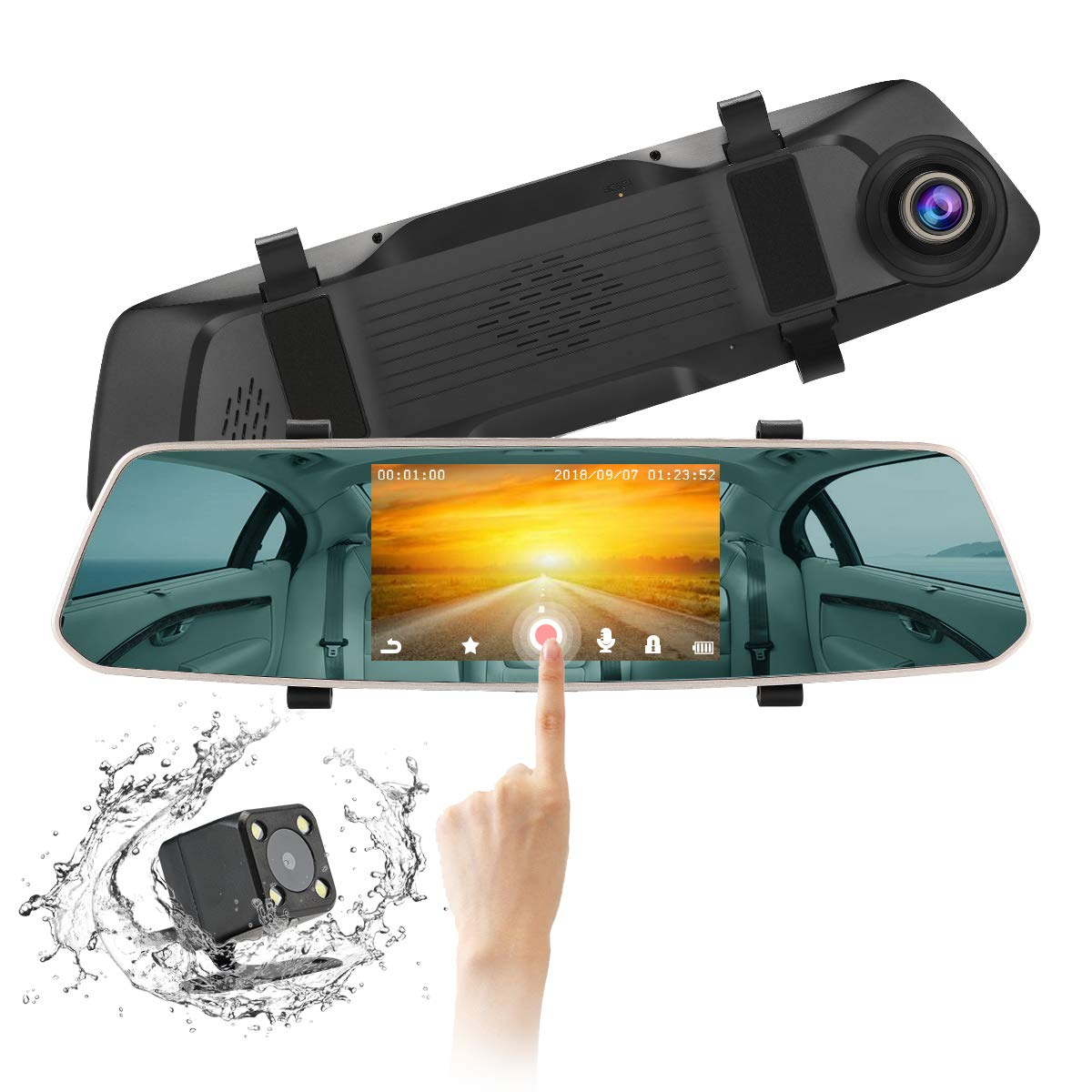 ULU Car Dash Cam 5.0' MIPI Touch Screen Dual Lens Rearview Mirror Camera Dash Board Camera 170 Degree Wide Angle Car Recorder with WDR, G-Sensor, Motion Detection, Loop Recording