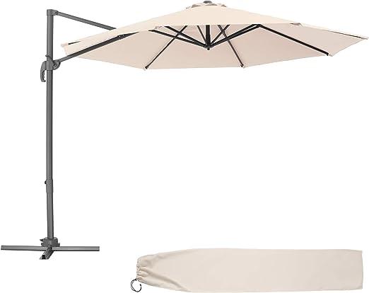 TecTake 800684 - Parasol Excéntrico de Jardín, Mástil de Aluminio con Manivela, Protección UV 50+, 6 Niveles de Inclinación, Ø 300 cm (Beige | No. 403133): Amazon.es: Jardín