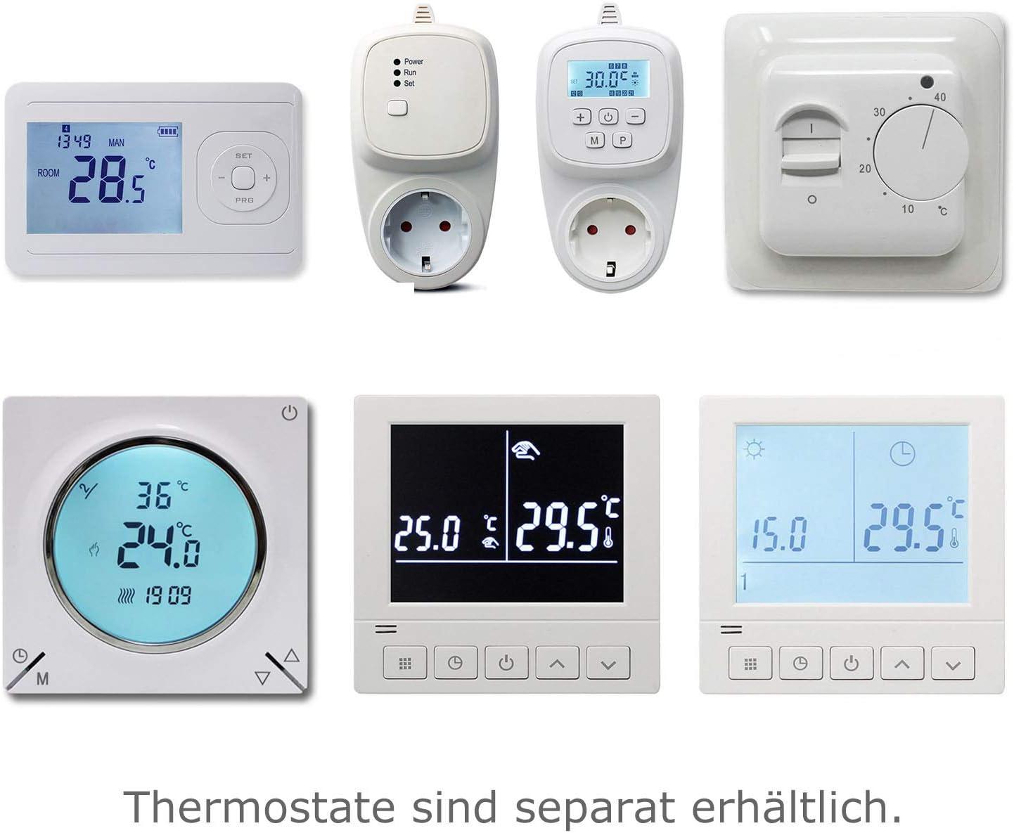 TWIN Heizkabel 10 W//m Thermostat unterputz HDW Elektro-Fußbodenheizung EU Herst