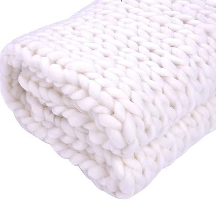 Amazon Com Marketworldcup New Merino Wool Chunky Knit Blanket Throw