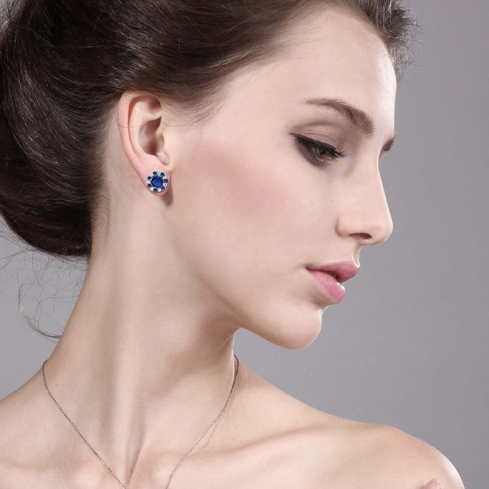 1.46 cttw Gem Stone King Sterling Silver Round Blue Simulated Sapphire Earrings with Removable Jackets