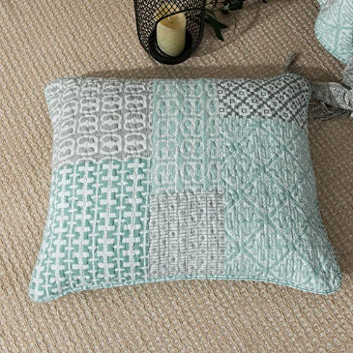 Rustic Victorian Lodge Arts (DaDa Bedding Contemporary Euro Sham - Geometric Patchwork Quilted Mint Blue Green Grey - 1-Piece 26