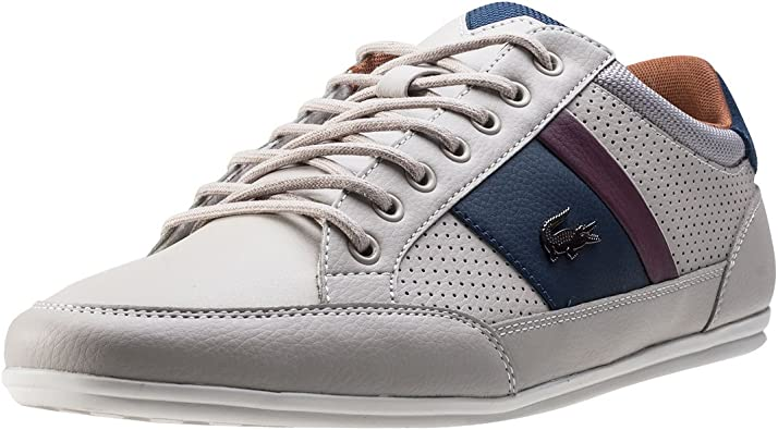 New Mens Lacoste Grey Chaymon Leather Trainers Lace Up