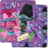 Amazingly Soft,Cute and Cozy DreamWorks Trolls, ''Confetti'' 50''x 60'' Double Sided Cloud Throw,Purple/Multicolor,Perfect for Sleepovers,Trips,Campings,Watching Movies and Taking a Nap,Makes a Great Gift