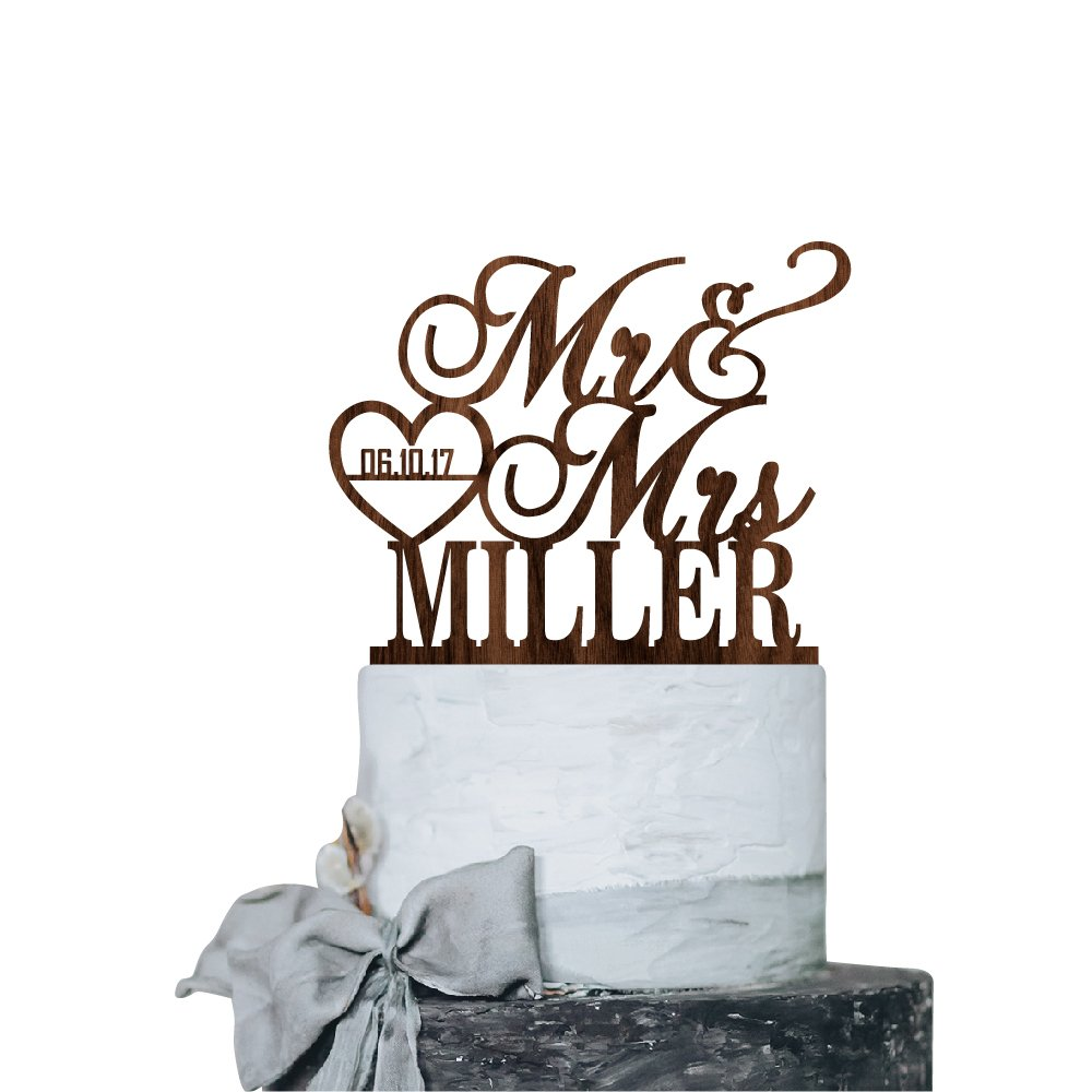 P Lab Personalized Cake Topper Mr. Mrs. Last Name Custom Date 2 Wedding Cake Topper Rustic Wood Decoration Keepsake Engagement Favors for Special Event Walnut Wood by Personalization Lab (Image #1)