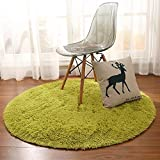 Junovo Round Fluffy Soft Area Rugs for Kids Room Children Room Girls Room Nursery,4 Feet (Green)