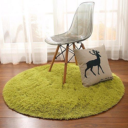 Junovo Super Soft Thick Anti-Skid Fluffy Round Children Area Rug for Living Room Bedroom Kids Room Nursery,4-Feet (Green) (Childrens Round Rugs)