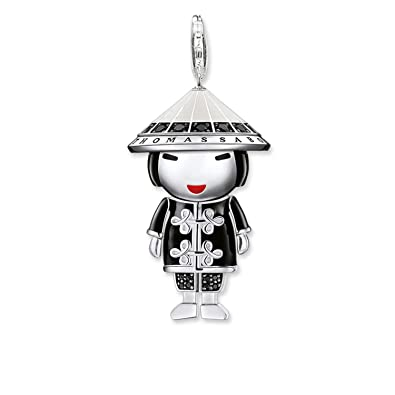 15d808e3790 Thomas Sabo T0295 - 041-11 Silver Chinese Doll Charm Pendant Enamelled with  Black Zircons Multicolour  Amazon.co.uk  Jewellery