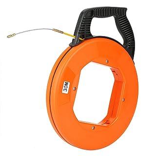 Bobina di nastro di pesce, nastro in fibra di vetro non conduttivo da 30 m Nastro in estrattore di cavi Utensile per cavi elettrico, buona resistenza alla trazione e agli urti