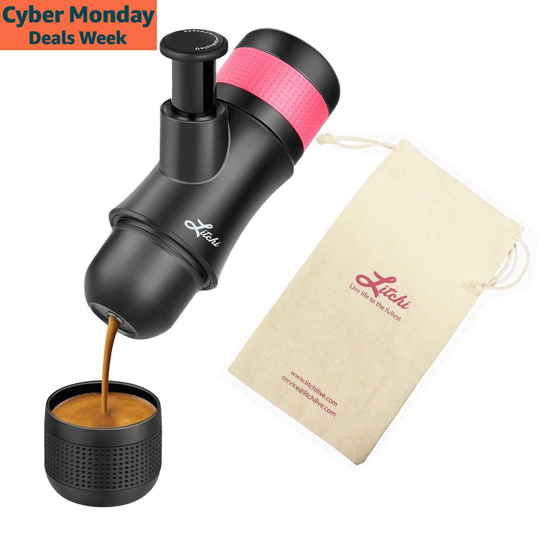 Macchina espresso portatile da Litchi Hand Held Macchina da caffè manuale 3 OZ con cestino di filtro aggiuntivo, sacchetto di trasporto COMINHKPR139518