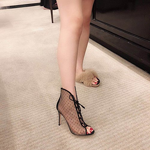 ZHANGYUSEN 2018 Summer Spring And Autumn New Gauze Lace High Heel Short Boots, Wave Point Transparent Bandage, Fish Mouth Fine With Boots, Cool High-Heeled Shoes. Black 9cm