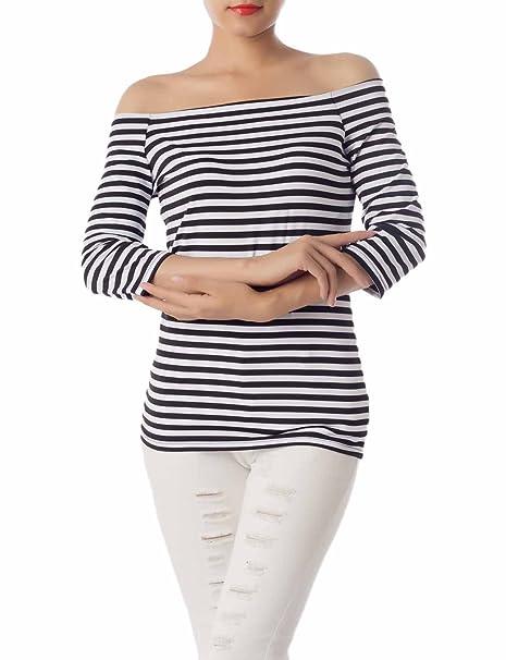 iB-iP Mujer Ajuste Fino Vestido Transparente De Rayas De La Camisetas Tejidas, Tamaño
