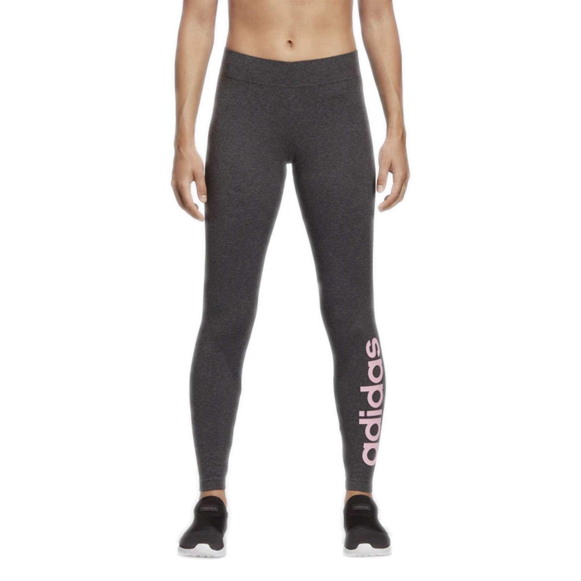 adidas Women's Essentials Linear Tights, Dark Grey Heather/True Pink, X-Large by adidas
