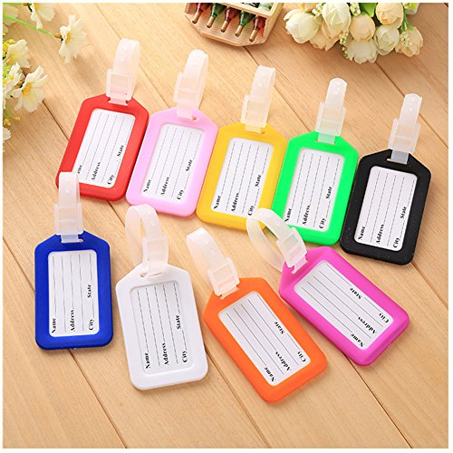 Xiwstar 10 Pcs Assorted Colors Plastic Travel Accessories Luggage Tag / Identifier with Name Card