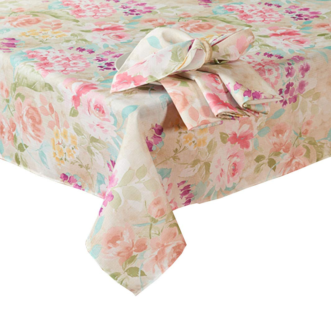 Newbridge Spring Garden Tablecloth with Enchanting Flower Bouquet Print for Spring and Easter Dining (60 x 102 Rectangle)