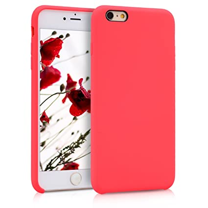 the latest fc124 3c303 kwmobile TPU Silicone Case Compatible with Apple iPhone 6 Plus / 6S Plus -  Soft Flexible Rubber Protective Cover - Neon Red