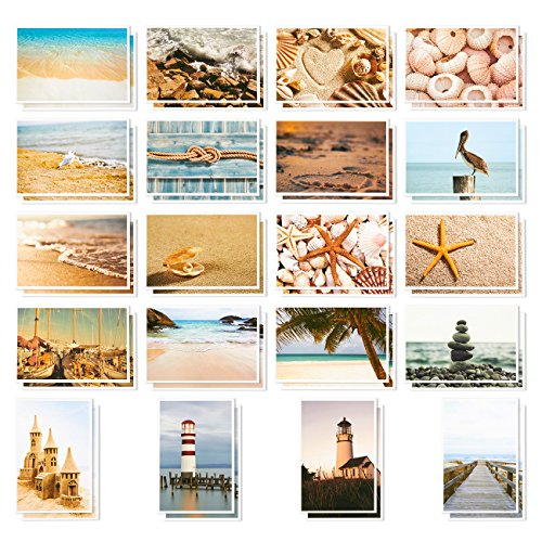 Nautical Beach Seaside Postcards - 40 Glossy Postcards - Bulk Set - Featuring Boats, Lighthouses, Sea Shells, Sand Castles - 4 x 6 Inches