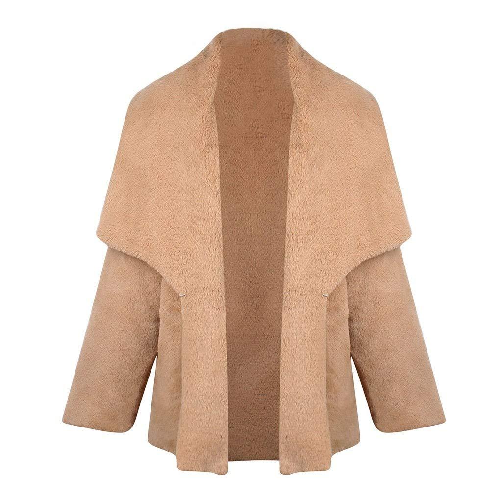 Kanpola Damen Kunstpelz Mantel Pl/üSch Jacke mit Reverskragen Warme Winterjacke,Modische Teddyjacke Lange Fleecejacke mit Tasche,Einfarbig Kurzmantel