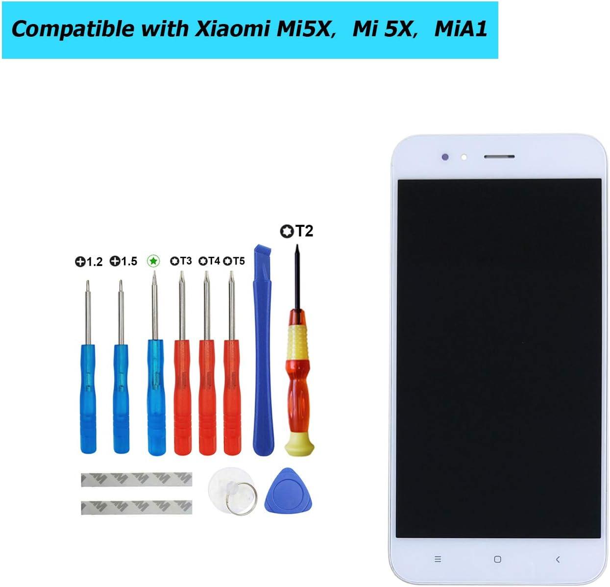 Upplus - Pantalla LCD de Repuesto Compatible con Xiaomi Mi5X, Mi 5X, MiA1, Mi A1 de 5,5 Pulgadas, Pantalla LCD táctil con Marco y Kit de Herramientas (Blanco): Amazon.es: Informática