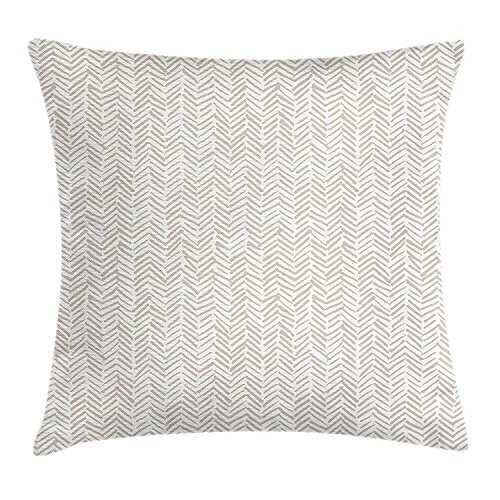 GOOESING Chevron Hand Drawn Monochrome Herringbone Lines Composition Of Abstract Ethnic Zigzags Beige And White Nice-Looking Flax Pillow Case/Pillow Cover 50% Cotton & 50% Polyester Size 22x22 -