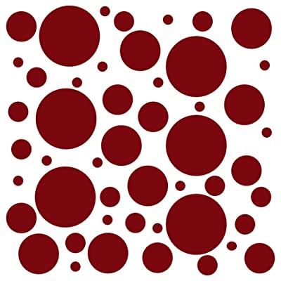 Set of 100 (Burgundy) Vinyl Wall Decals - Assorted Polka Dots Stickers - Removable Adhesive Safe on Smooth or Textured Walls - Round Circles - for Nursery, Kids Room, Bathroom Decor: Home & Kitchen [5Bkhe1106755]