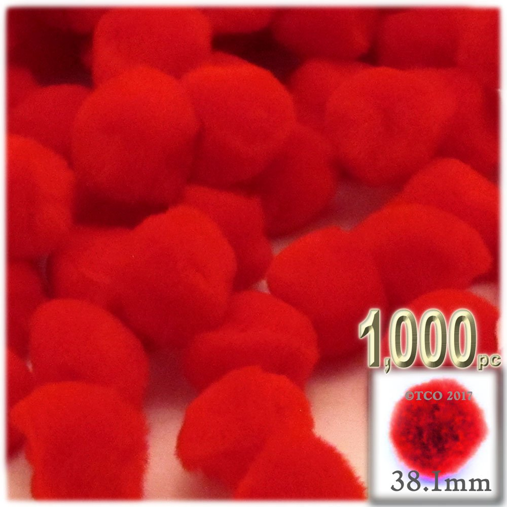 The Crafts Outlet 1,000-Piece Multi purpose Pom Poms, Acrylic, 38mm/about 1.5-inch, round, Red