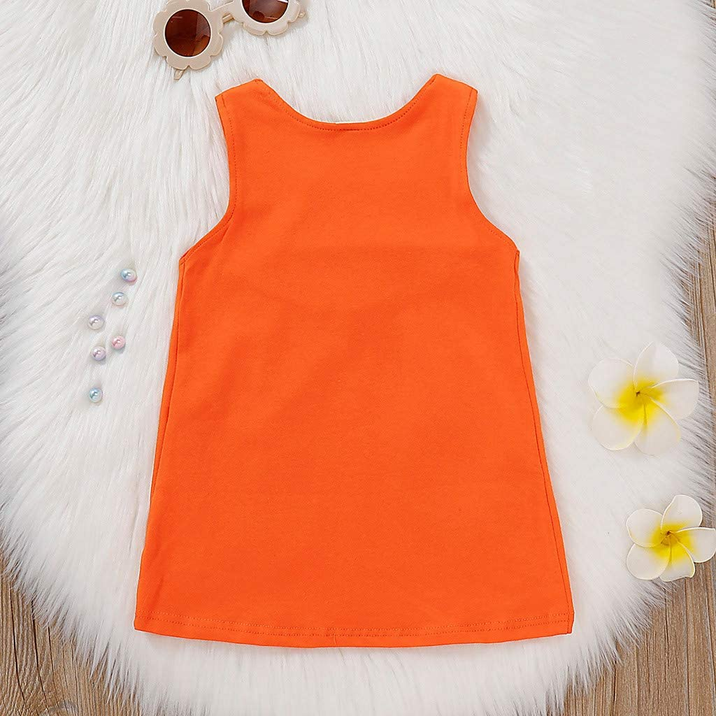 Dinlong Summer Toddler Kid Baby Girl Sleeveless Lovely 3D Cartoon Fox Printed Pocket Casual Princess Dress