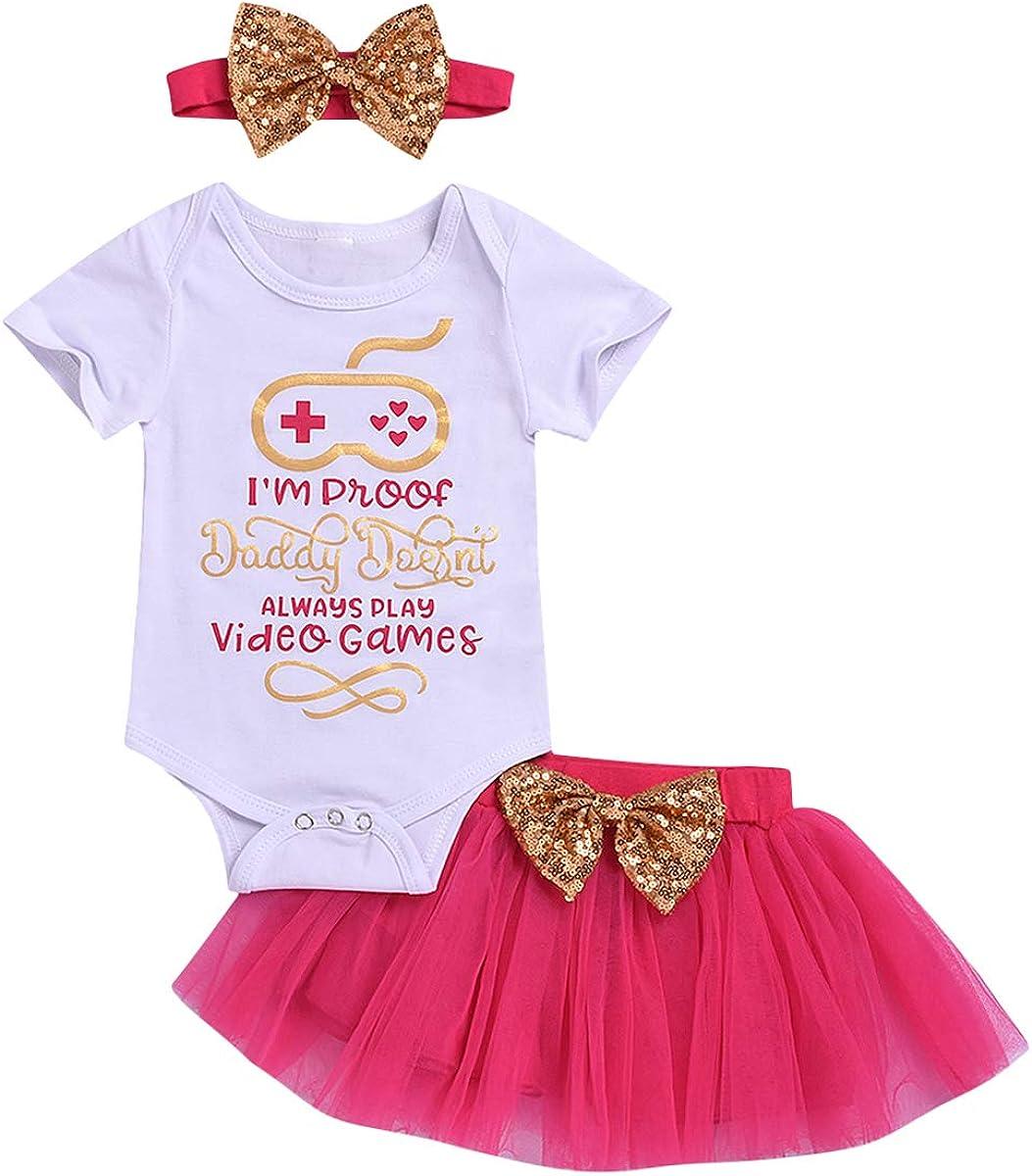 0-24M Baby Girl Short Sleeve Romper+Bowknot Tulle Skirt+Headband 3Pcs Set