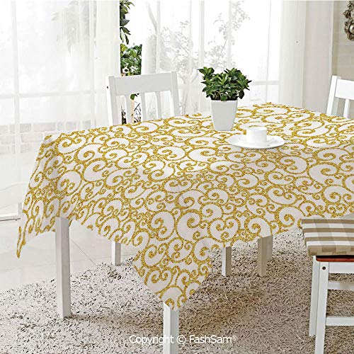 AmaUncle 3D Print Table Cloths Cover Floral Ivy Swirls Like Rounds Old Victorian Time Inspired Art Print Decorative Table Protectors for Family Dinners (W55 xL72)