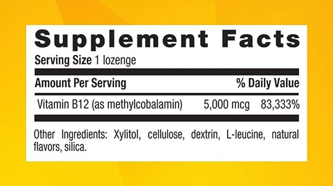 Metil B12, sabor a cereza, 5000 mcg, 60 pastillas - Vida en el campo: Amazon.es: Salud y cuidado personal