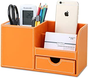 KINGFOM Wooden Struction Leather Multi-function Desk Stationery Organizer Storage Box Pen/Pencil,Cell phone, Business Name Cards Remote Control Holder with Small Drawer Orange