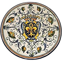 CERAMICHE D'ARTE PARRINI - Italian Ceramic Art Pottery Plate Flat Dish Hand Painted Decorated Lily Made in ITALY Tuscan