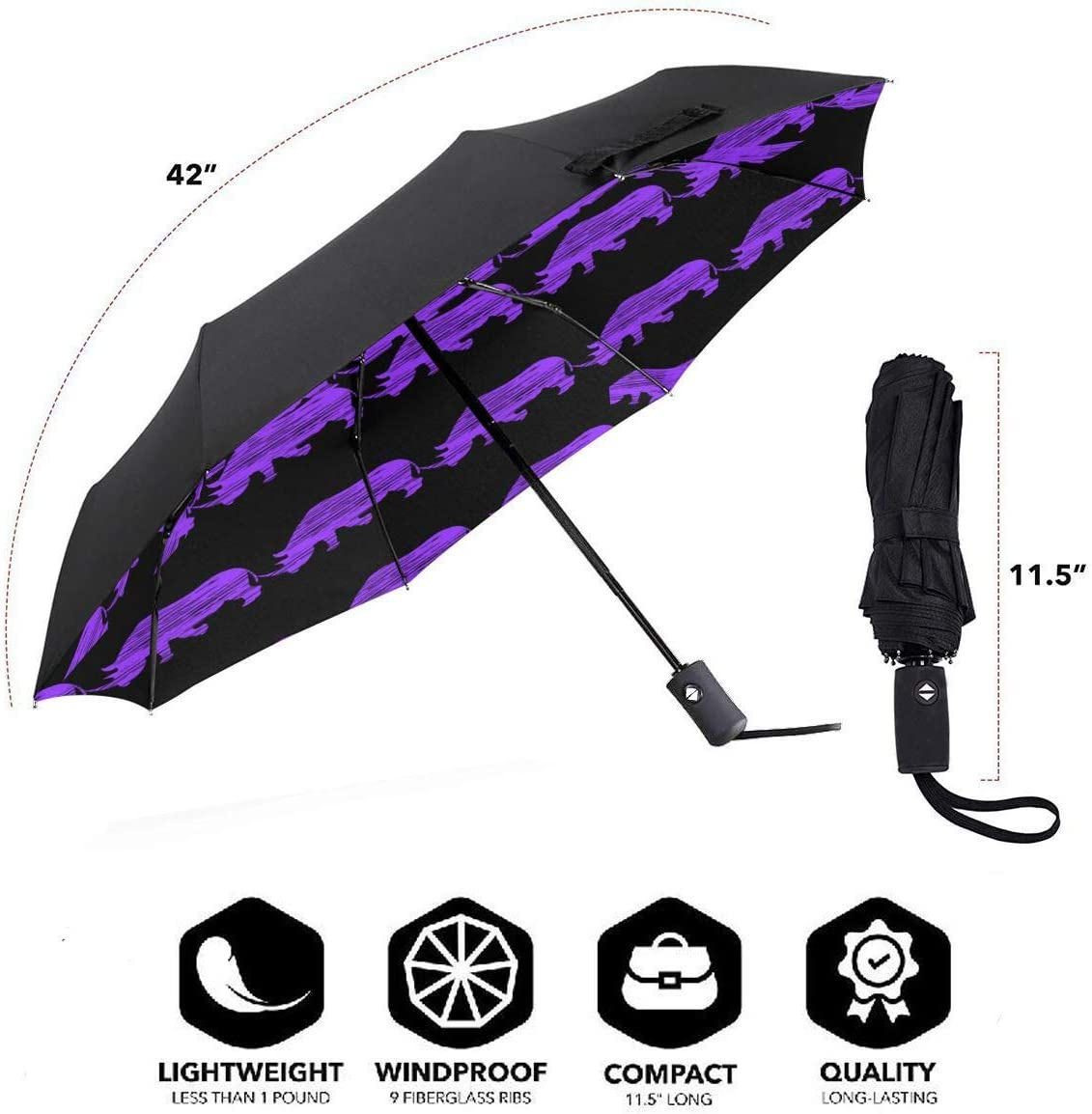 Unicorn Rhino Automatic Tri-Fold Umbrella Parasol Sun Umbrella Sunshade