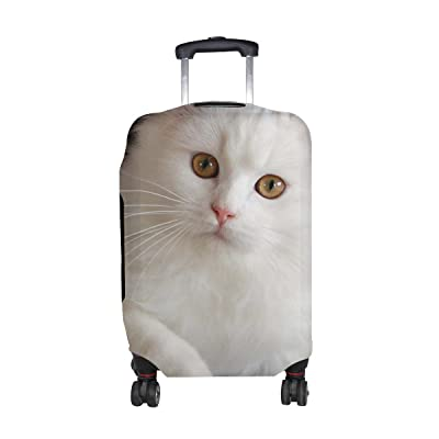 Animal Cat Persian White Fluffy Animated Real Cute Pet Pattern Print Travel Luggage Protector Baggage Suitcase Cover Fits 18-21 Inch Luggage