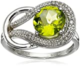 Peridot and Diamond Accent Love Knot Ring in 10k White Gold, Size 6