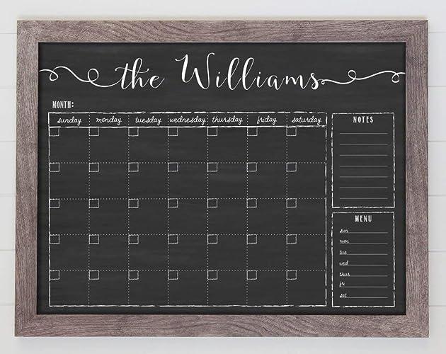 Chalkboard Calendar 24x18 Horizontal Framed Dry Erase Calendar